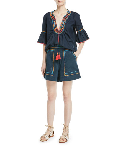 Half-Sleeve Embroidered Cotton Tunic Blouse and Matching Items