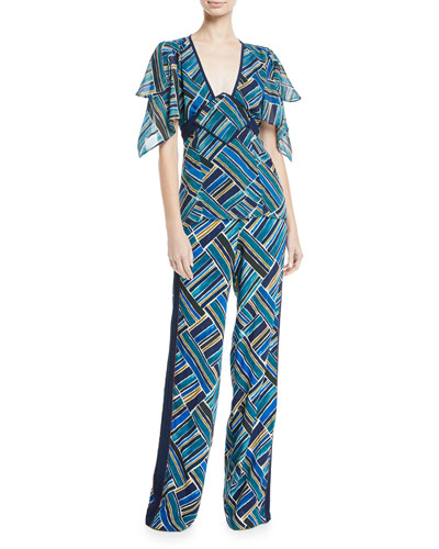 Painted-Print Hanky-Sleeve Silk Tunic and Matching Items