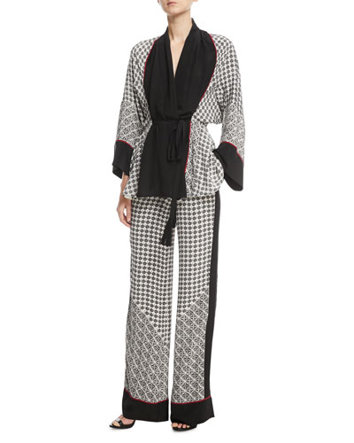 Silk Scarf-Print Short Belted Robe  and Matching Items