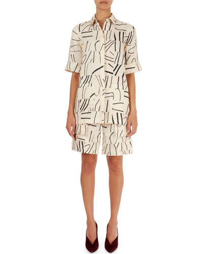 Painted-Line-Print Oversized Shirt & Cargo Shorts
