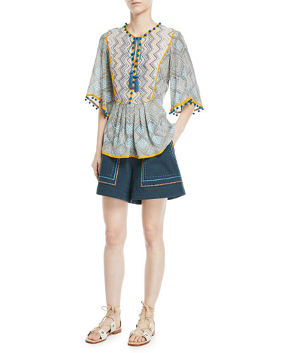 Jeweled Embroidery High-Waist Cotton Twill Shorts and Matching Items