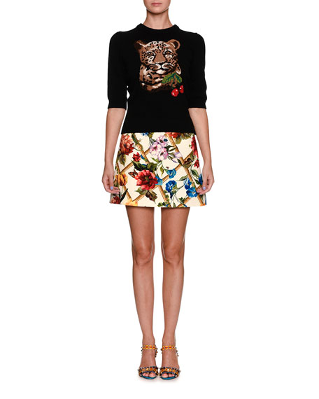 Leopard & Cherry Print Crewneck Elbow-Sleeve Wool-Cashmere Sweater