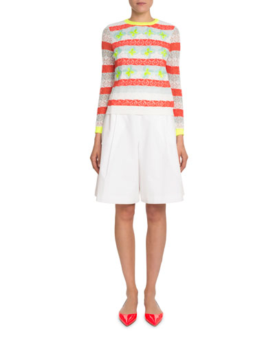 Pleated Cotton Poplin Knee-Length Bermuda Shorts and Matching Items
