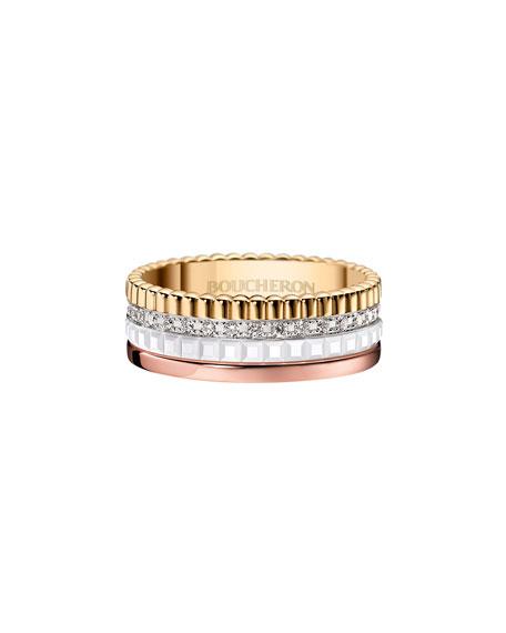 Quatre Small 24K Gold & White Ceramic Ring with Diamonds, Size 54