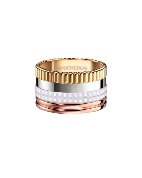 Boucheron Quatre Large 18K Gold & White Ceramic Ring, Size 54