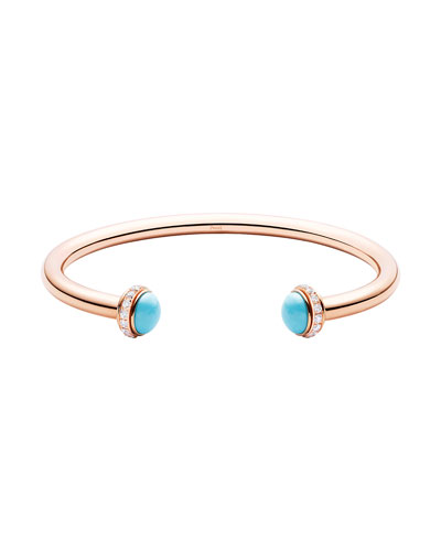 Possession Medium Turquoise Open Bangle with Diamonds