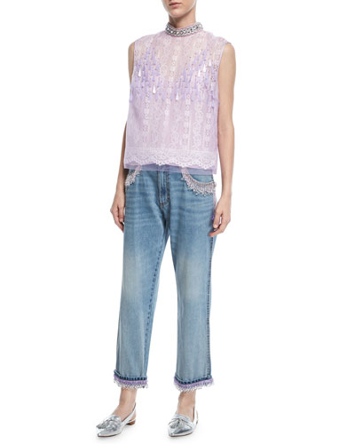 Sleeveless Embellished-Neck Lace-Front Top and Matching Items