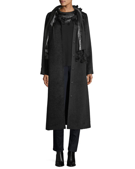 Drapey Suri Alpaca-Blend Calf Length Coat