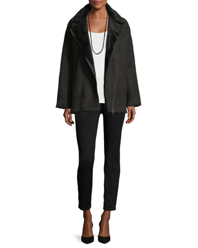 Sleek Shearling Leather Bomber Jacket and Matching Items