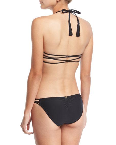 Braided Solid Full Swim Bikini Bottom, Midnight