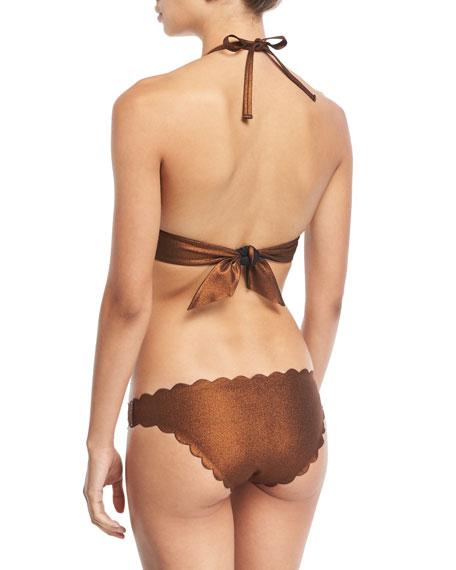 Reversible Seamless Wave Halter Swim Top, Copper