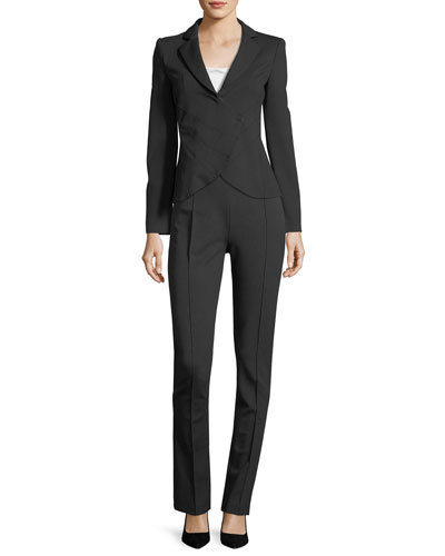 Notched-Lapel Asymmetrical Ruched Jacket and Matching Items