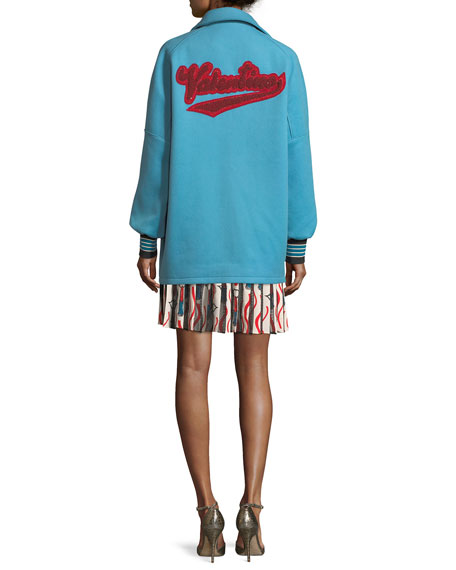 Snap-Front Oversized Felted Wool with Lipstick Wave Embroidery