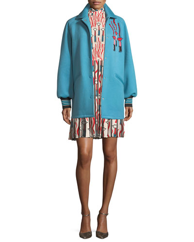 Snap-Front Oversized Felted Wool with Lipstick Wave Embroidery and Matching Items