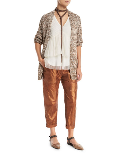 Metallic Leather Cropped Utility Pants and Matching Items