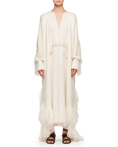 Shaggy Wool Open-Front Fringed Coat  and Matching Items