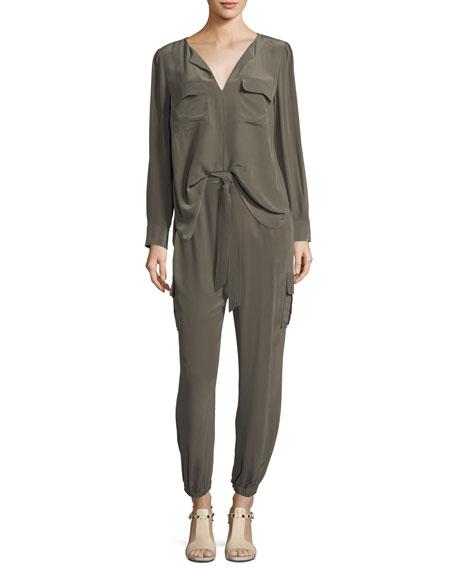 Silk Flap-Pocket Top, Plus Size
