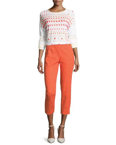 Crewneck Long-Sleeve Dot-Print Sweater and Matching Items