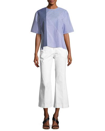 Crewneck Half-Sleeve 2-Way Striped Poplin Shirt and Matching Items