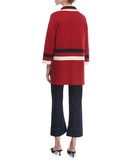 Varsity Stripe Knit Caban Coat