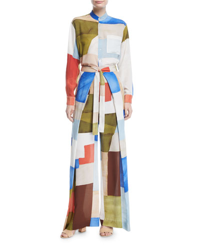 Wide-Leg Patchwork-Print Apron Crepe de Chine Silk Pants and Matching Items
