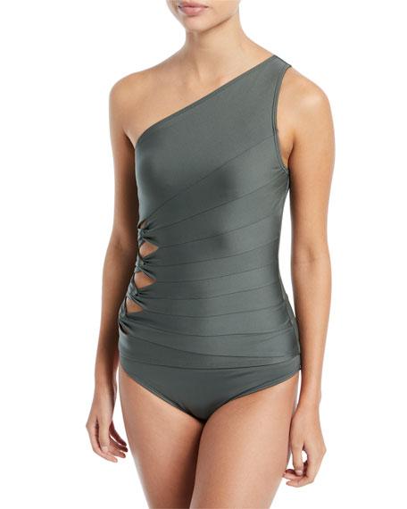 Coastal Twist Solids One-Shoulder Tankini Swim Top