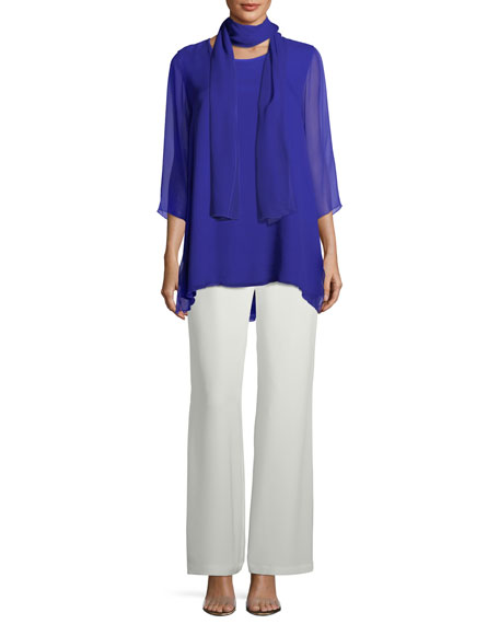 Silk Crepe Lined Wide-Leg Pants