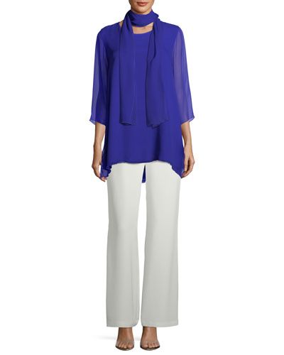 Silk Crepe Lined Wide-Leg Pants  and Matching Items