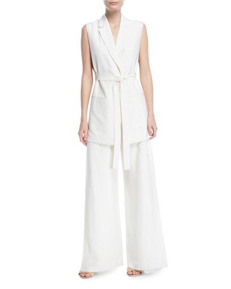 Notch-Lapels Tie-Waist Fluid Shantung Vest w/ Side Slits