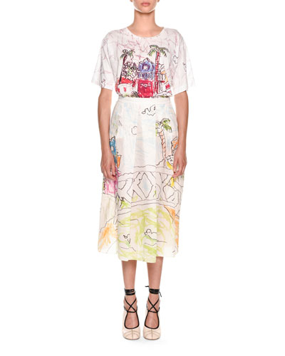 Artist-Collaboration Printed Cotton Voile Pleated Ankle Skirt and Matching Items