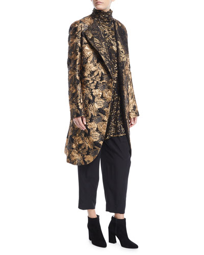 Asymmetric Front Metallic Jacquard Coat and Matching Items