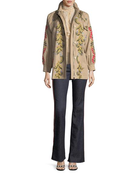 Floral-Vines Embroidered Cotton Jacket