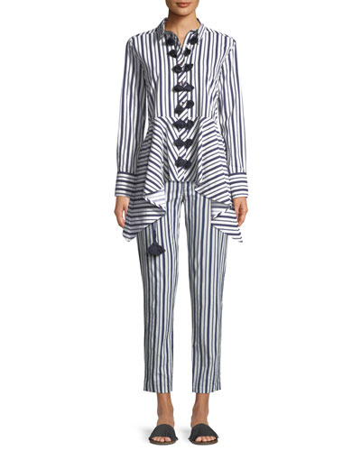 Zuri Straight-Leg Striped Crop Cotton Pants and Matching Items
