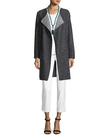 Tweed Fray-Edge Long Jacket