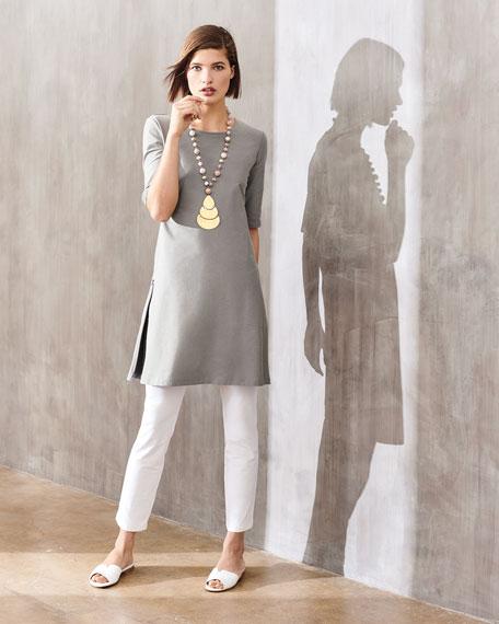 Half-Sleeve Crepe Shift Dress