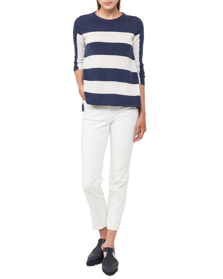 Crewneck Long-Sleeve Striped Wool-Cashmere Knit Sweater
