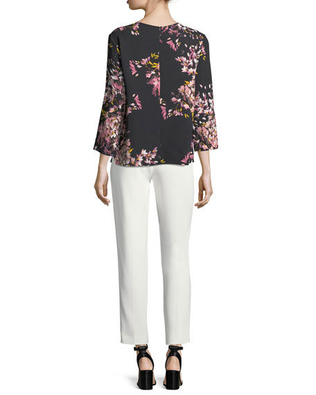V-Neck Long-Sleeve Floral-Print Tunic