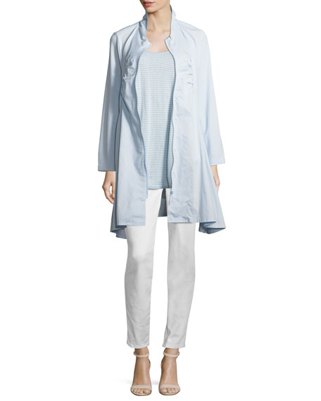 Zip-Front Stretch Knit/Woven Combo Jacket, Plus Size