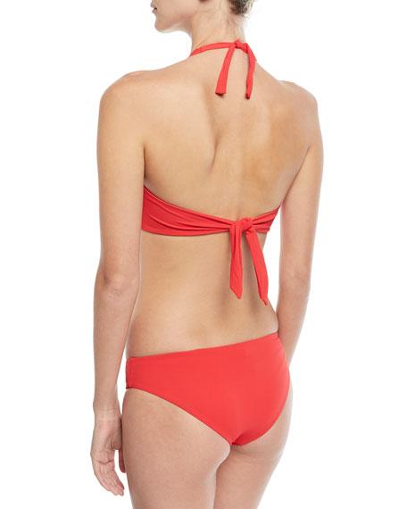 Africa Halter Twist-Front Solid Pique Swim Top