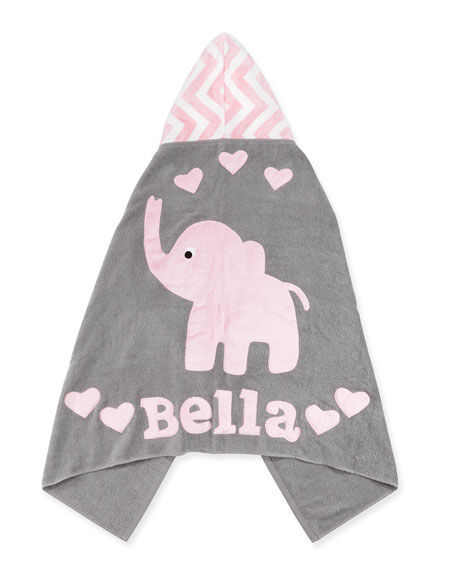 Boogie Baby Personalized Big Foot Elephant Hooded Towel, Pink