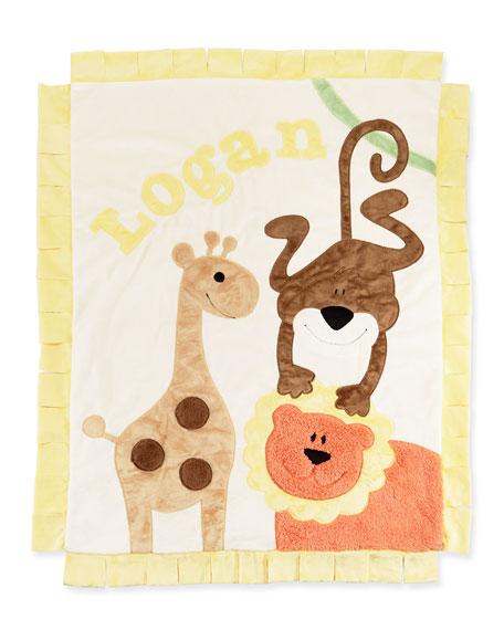 Boogie Baby Personalized Wild Ones Plush Blanket, Cream