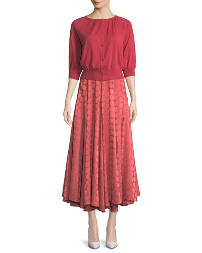 Pleated A-Line Tonal Dot Satin Midi Skirt and Matching Items