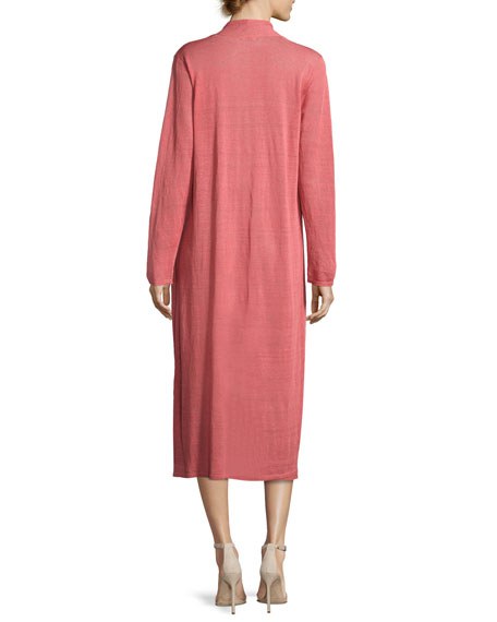 Fine Organic Linen-Blend Maxi Cardigan, Coral, Plus Size