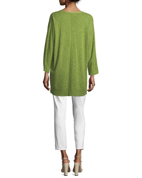 3/4-Sleeve Slub Knit V-Neck Top