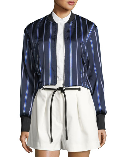 Zip-Front Striped Satin Bomber Jacket and Matching Items