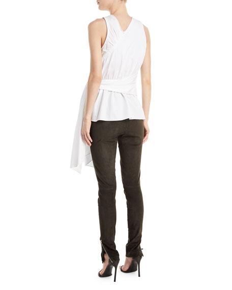 Twist-Front Sleeveless Cotton Poplin Top