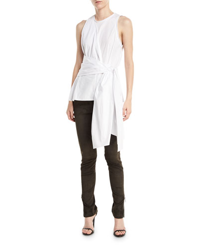 High-Waist Stretch-Suede Leggings with Ankle-Zip and Matching Items