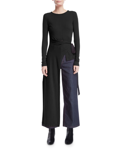 Tie-Side Split Apron Long-Sleeve Tee and Matching Items