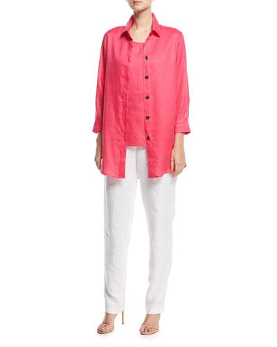 Tissue Linen Boyfriend Shirt, Plus Size and Matching Items