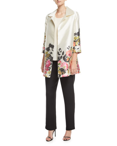 Silk Crepe Straight-Leg Pants, Plus Size  and Matching Items